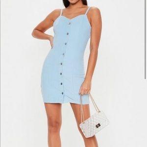 Blue button through corduroy mini dress